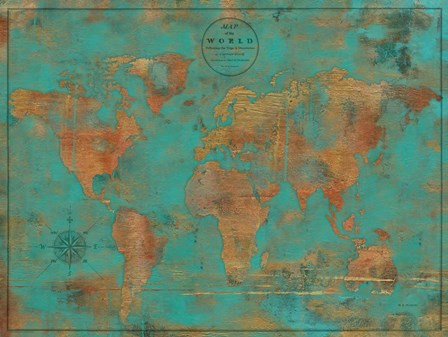 Rustic World Map by Marie-Elaine Cusson art print