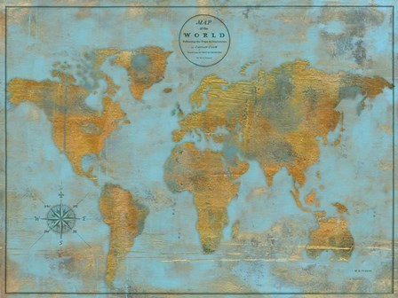 Rustic World Map Sky Blue by Marie-Elaine Cusson art print