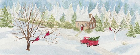 Christmas in the Country panel with red truck by Tara Reed art print