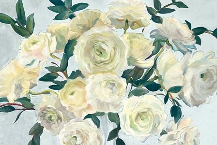 Roses in Cobalt Vase Spa Blue Crop by Marilyn Hageman art print