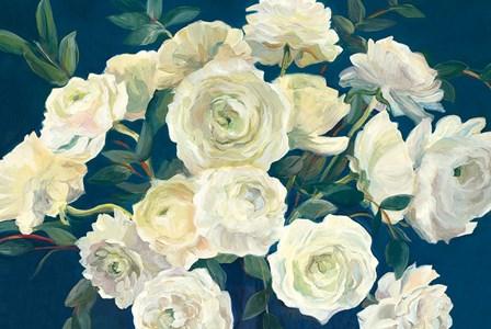 Roses in Cobalt Vase Indigo Crop by Marilyn Hageman art print