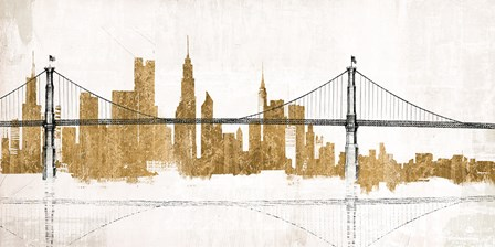 Bridge and Skyline Gold by Avery Tillmon art print