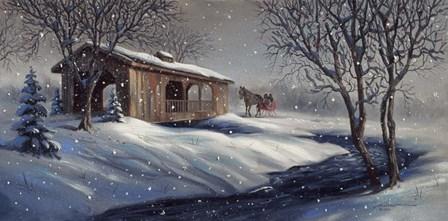 Covered Bridge Snow by D. Rusty Rust art print