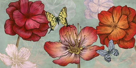 Flowers and Butterflies (Aqua) by Eve C. Grant art print