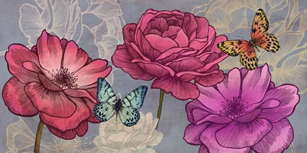 Roses and Butterflies (Ash) by Eve C. Grant art print