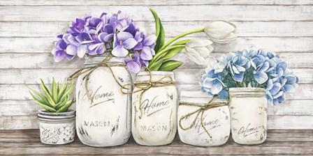 Hydrangeas in Mason Jars by Jenny Thomlinson art print