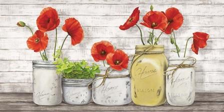 Poppies in Mason Jars by Jenny Thomlinson art print