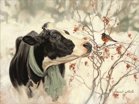 The Winter Robin by Bonnie Mohr art print