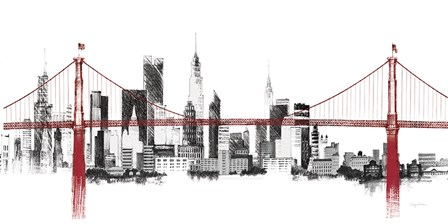 Bridge and Skyline Red by Avery Tillmon art print