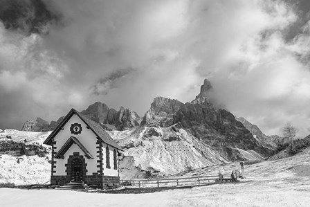 Alpine Chapel BW by Michael Blanchette Photography art print