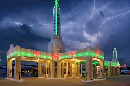 Rt 66 Shamrock Texas Conoco Lightning by Mike Jones Photo art print