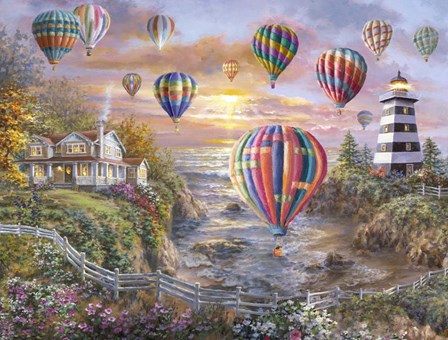 Balloons Over Cottage Cove by Nicky Boehme art print