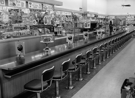 1950s 1960s Interior Of Lunch Counter by Vintage PI art print