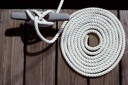 1980s Detail Of Cleat Hitch And Coiled Rope by Vintage PI art print