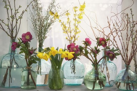 Spring Flowers in Glass Bottles I by Cora Niele art print