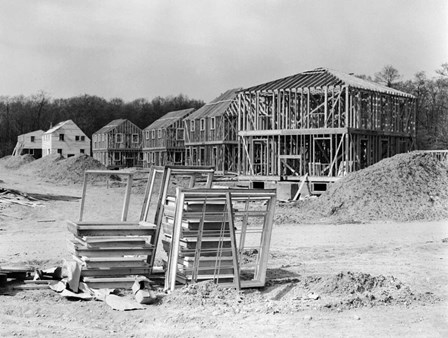 1950s Suburban Housing Development Under Construction by Vintage PI art print