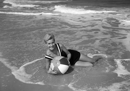 1960s Woman In Bathing Suit Lying In The Surf by Vintage PI art print