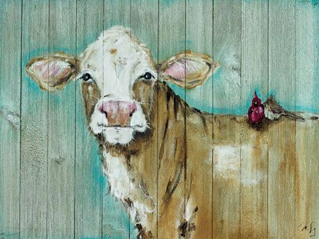 Cow with Friends by Molly Susan Strong art print