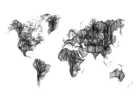 World Map Drawing 1 by Naxart art print