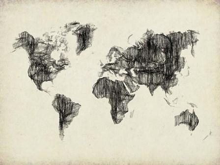World Map Drawing 2 by Naxart art print