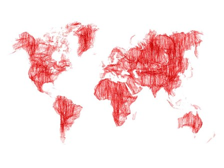 World Map Red Drawing by Naxart art print
