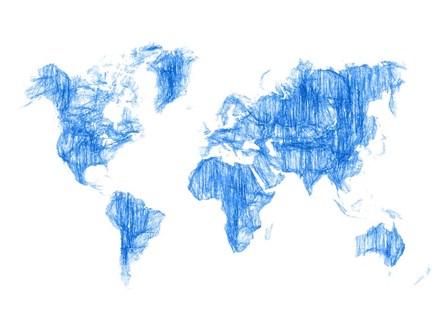 World Map Blue Drawing by Naxart art print