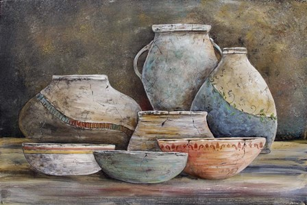 Clay Pottery Still Life-A by Jean Plout art print