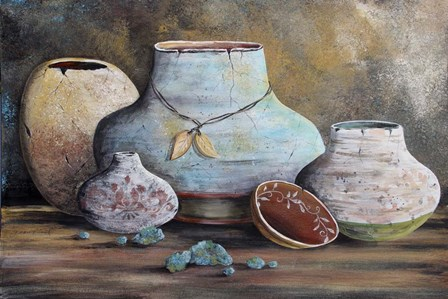 Clay Pottery Still Life-B by Jean Plout art print