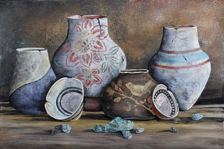 Clay Pottery Still Life-C by Jean Plout art print
