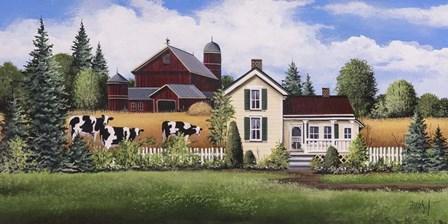 House, Barn & Cows by Debbi Wetzel art print
