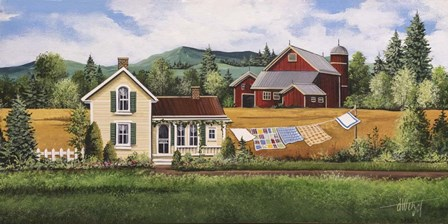 House, Quilt & Red Barn by Debbi Wetzel art print