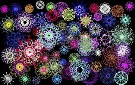 Black And Rainbow Mandala Abstract by Stephanie Analah art print