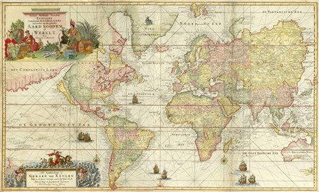 World Map By Gerard Van Keulen by Vintage Lavoie art print