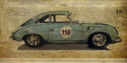 No. 118 Porsche 356 by Sidney Paul and Co. art print