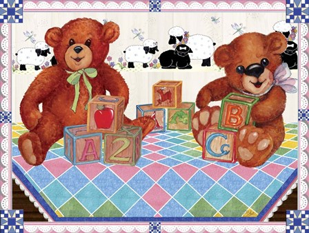 Teddy Bears And Blocks by Sher Sester art print