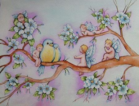 Blossom Fairies by Angie Livingstone art print