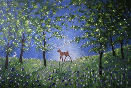 Evening In The Bluebell Wood by Angie Livingstone art print