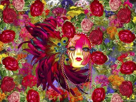 Mask And Red Flowers by Ata Alishahi art print