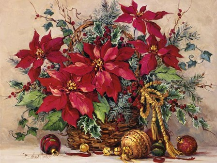 Holiday Poinsettia Basket by Barbara Mock art print