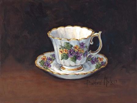 Viola Bouquet Teacup by Barbara Mock art print