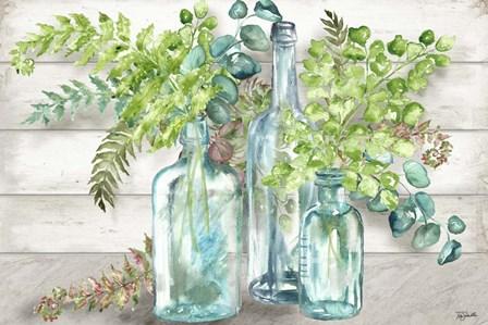 Vintage Bottles and Ferns Landscape by Tre Sorelle Studios art print