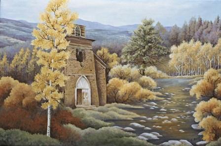 Church by the Creek by Carol J Rupp art print