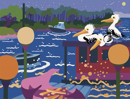 Pelicans By Harbour Light by Cindy Wider art print