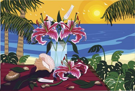 Tropical Bouquet With Sea Shells by Cindy Wider art print
