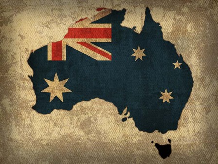 Australia Country Flag Map by Red Atlas Designs art print