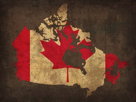 Canada Country Flag Map by Red Atlas Designs art print