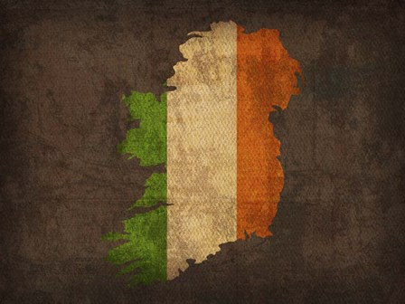 Ireland Country Flag Map by Red Atlas Designs art print
