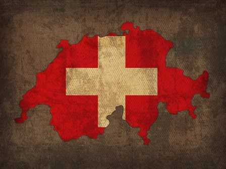 Switzerland Country Flag Map by Red Atlas Designs art print