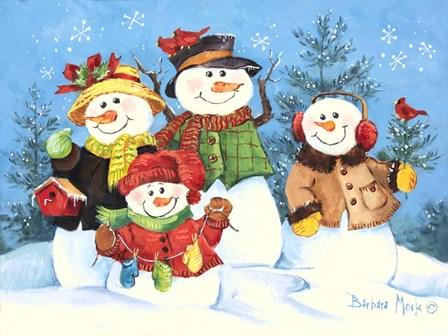 Snowman Family by Barbara Mock art print