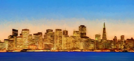 Illuminated Cityscape at the Waterfront, San Francisco Bay, California by Panoramic Images art print